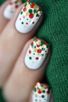 Easy and festive Christmas confetti nail art video tutorial.