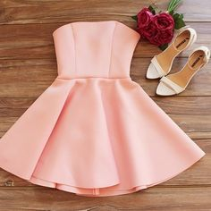A Line Pearl Pink Homecoming Dresses Zippers Sleeveless No Strapless Short Homecoming Dress Strapless Homecoming Dresses, Hoco Dresses, Party Dresses For Women, Casual Dresses For Women, Evening Dresses, Formal Dresses, Elegant Dresses, Pretty Dresses, Look Fashion