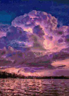 Dramatic Lightning Storm Sunset landscape Cross Stitch pattern PDF - Instant Download! by PenumbraCharts on Etsy