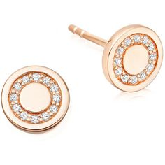 Astley Clarke Cosmos 14K Rose-Gold Pavé Diamond Mini Stud Earrings ($630) ❤ liked on Polyvore featuring jewelry, earrings, rose gold, pink gold earrings, 14k jewelry, rose gold jewelry, post earrings and circle stud earrings