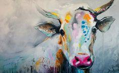Color me cow. 30X48. Huile sur toile