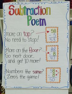 Subtraction Poem - Another Chart to Make!