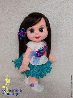 Купить Оленька - разноцветный, вязаная игрушка, вязаная кукла, вязаный пупс, пупс, Пупсик, девочка