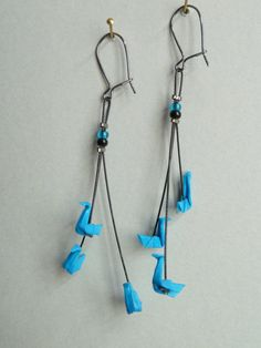 Boucles d'oreilles en origami triple cygne bleu