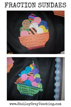 "These Fraction Sundaes were made using the Scholiastic book, ""Math Art."" It's a great bulletin board fraction display."
