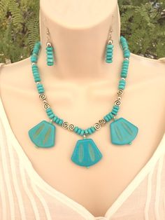 Gemstone Necklace and Earring Set Unique Jewelry by WirednStrung