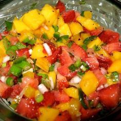 Strawberry and Mango Salsa - on top of grilled chicken with a side of grilled veggies | Pins For Your Health