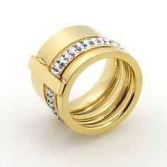 Gold Plated Crystal Titanium Rings/Bangles - FREE Shipping!