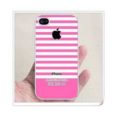 Hot pink stripes rubber iphone 4 case