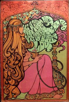 A poster i bought from the 60s. author is unknown but this is an advertisement for incense. The artist took an art nouveau approach with the woman in the image and her long spirally hair