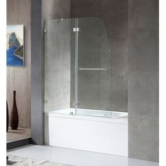 "SUNNY 59"" W x 62"" H Semi-Frameless Shower Door | Wayfair Tub With Glass Door, Glass Shower Doors, Sliding Glass Door, Shower Tub, Dream Shower, Frameless Shower, Glass Doors, Bathtub Doors, Glass Bathtub Door"