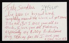"""""""Сандлерсам: Я так занят, работаю практически круглосуточно, буду дома в 7:30 утра, но я всех Вас люблю навечно и очень скучаю по Вам, особенно по моему другу Николаусу. Обнимите за меня Трэйси. Я люблю тебя Элен, люблю. MJ."""""""