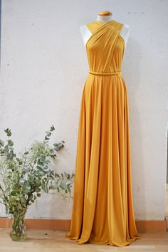 Mustard Party Dress, Yellow Long Dress, Mustard Bridesmaid Dress, Mustard yellow Prom Dress, Open back Cocktail Dress, Event dress Subscribe to my