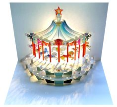 Carousel Happy Birthday Card Handmade Laser Cut Pop Up Card | Etsy Carousel Birthday, Birthday Fun, Carousel Party, Card Birthday, Pop Up 3d, Quilling Birthday Cards, Quilling Cards, Paper Quilling, Happy Birthday Cards Handmade