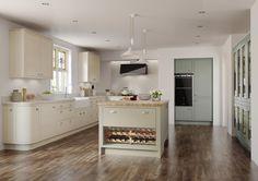 curved kitchen, mereway mussel, light fern and sage