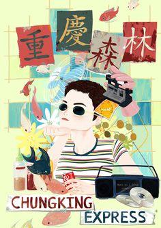 Movie Poster of the Day Chungking Express Chung Hing sam lam Wong Kari-wai Kari-wai Wong Faye Wong Brigitte Lin fish Yuri Kim poster redesign Movie Poster Art, Film Posters, Faye Wong, Brigitte Lin, Chungking Express, An American In Paris, Happy Together, Pretty Pictures, Pretty Pics