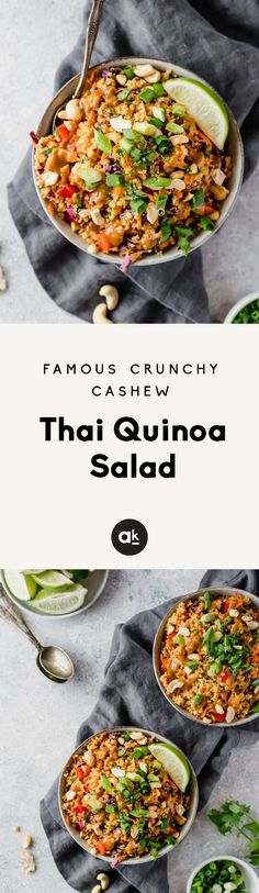 Famous Crunchy Cashew Thai Quinoa Salad {vegan & gluten-free} - Delicious vegan and easily gluten free Thai quinoa salad with a perfect crunch. Perfect for meal prep lunches, picnics or parties. This salad is a crowd-pleaser! Whole Food Recipes, Cooking Recipes, Quinoa Salat, Quinoa Bowl, Vegetarian Recipes, Healthy Recipes, Curry Recipes, Think Food, Prepped Lunches