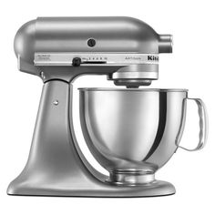 KitchenAid KSM150PSCU Contour Silver 5-quart Artisan Tilt-Head Stand... ❤ liked on Polyvore featuring home, kitchen & dining and kitchenaid