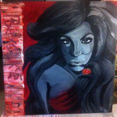 """""""Beybey"""" 1,10 m X 1,10m Cadeau pour mon meilleur ami fan de Beyoncé.  Peinture acrylique. By Rockin Diva Poom"""