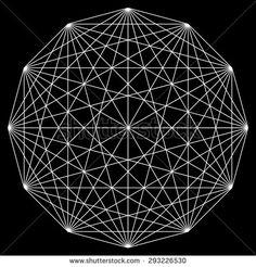 Line drawing, mandala vector, sacred geometry, logo design element - stock vector