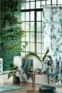 Valokuvallinen suihkuverho - Valkoinen/Lehtikuvio - Home All | H&M FI 1