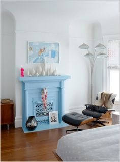 64 ideas living room blue fireplace for 2019 Paint Fireplace, Fake Fireplace, Fireplace Mantles, Fireplace Surrounds, Painted Mantle, Interior Walls, Interior Design Inspiration, Color Inspiration, Architecture