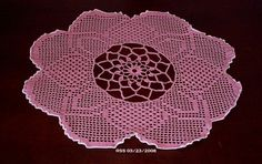 #Flower #Doily - Wild #Rose #Pink #Evening #Primrose #Bloom - Filet Crochet | #Handmade by @rssdesignsfiber --  RSSDesignsInFiber  ~~~  This is a finished #Filet #Crochet design - crocheted by me in fine size 30 DMC Cordonnet Special (which use to some in this discontinued pink color, which I acquired some of) -- from a rather Advanced Pattern in a Magic Crochet Magazine (tho out of print -- you can find second-hand copies of these great Thread Crochet magazines online).