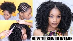 How To: Natural Hair Sew-in Weave Start to Finish [Video] - Black Hair Information Sew In Weave Hairstyles, Natural Braided Hairstyles, Protective Hairstyles For Natural Hair, Natural Braids, Nerdy Hairstyles, Curly Hair Styles Easy, Natural Hair Styles, Natural Hair Sew In, Natural Hair Weaves
