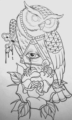 Owl tattoo on sketch (on paper) art by Evgeniy Flash Art Tattoos, Body Art Tattoos, Sleeve Tattoos, Cool Tattoos, Owl Tattoo Drawings, Tattoo Sketches, Owl Tattoo Design, Tattoo Designs, Dessin Old School