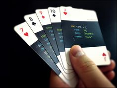 Insert a nerdy touch to your weekly poker games with the programming deck of cards. Each card in this unique deck features a code excerpt describing it in one of the various programming languages, from the mainstream to the new and obscure languages. Game Design, Web Design, Modern Design, Graphic Design, Top Imagem, Roulette, Name Card Design, Playing Card Games, Cool Deck