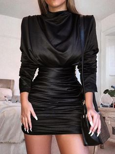 Long Sleeve Split Back Stand Collar Black Ruched Party Dresses 10e6d037a4c35