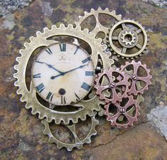 Old Timer Steampunk Brooch Lapel Pin Handmade Arts and Craft One of a Kind by ArtandThingsUK on Etsy