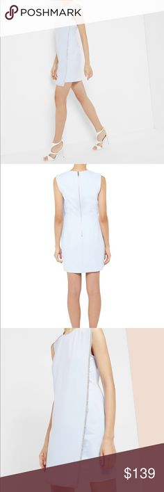 NWT Ted Baker embellished tunic dress Light blue sheath dress from Ted Baker London.  An exposed silver zipper runs down the center of the back of this very figure flattering dress. Perfect for a night out or a cocktail dress for a wedding. Size 1 in Ted Baker equates to a US 4. NWT and never worn. Ted Baker London Dresses Mini