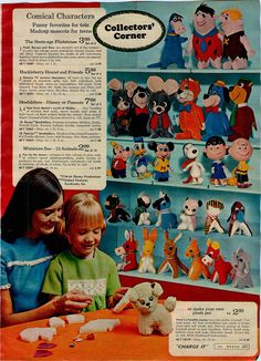 1969 Advertisement Dolls Stuffed Peanuts Flintstones Huckleberry Hound Snoopy