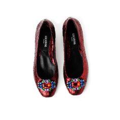 Cracked Metallic Diamante Ballerinas Red by Kim Kwang Metallic Shoes, Tory Burch Flats, Ballerina, Red, Fashion Design, Jewelry, Jewlery, Ballet Flat, Jewerly