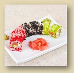Tobiko Caviar (poor man's/flying fish roe). Called red and black sushi rolls.
