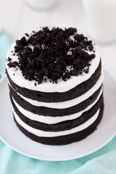Oreo Cookie Layer Cake -- OREO LOVERS! This cake is like biting into layers and layers of soft Oreo cookies. The frosting is actually Oreo cookie FILLING!!