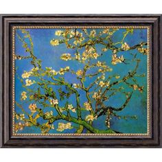 Amanti Art Vincent van Gogh 'Almond Branches in Bloom, San Remy 1890, detail (iii)' Framed Art Canvas