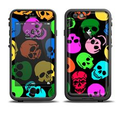 The Vivid Vector Neon Skulls Apple iPhone 6/6s Plus LifeProof Fre Case Skin Set from DesignSkinz