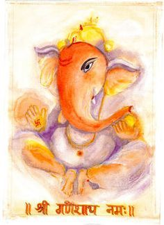 Lord Ganesha, a Hindu god, the God of success and destroyer of enemies, Painted on water color paper with Acrylics in water color style.