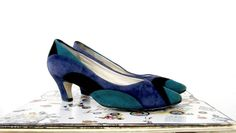 Suede Leather Pumps 1980s Vintage  Calico Brand by lovethatlingers, $14.00