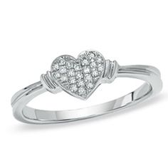 Diamond Accent Heart Ring in 10K White Gold