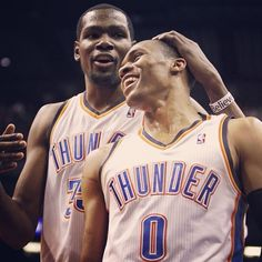 Aww... Kevin Durant and Russell Westbrook OKC Thunder - These boys...