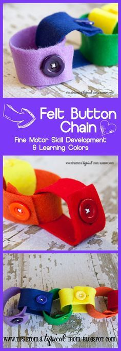 DIY Felt Button Chain~ You sew on the buttons, then will have a great low level, hands on activity for the person with Alzheimer's dementia. Nice adapted option to use with women who used to sew but can no longer.