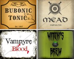 Printable Halloween-Themed Drink and Bottle Labels. $1.99, via Etsy.
