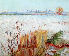 Vincent Van Gogh - Post Impressionism - Arles - Paysage neigeux avec Arles en arrière-plan - 1888