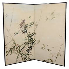 Japanese Two Panel Folding Screen with Owl and Bamboo | From a unique collection of antique and modern screens at http://www.1stdibs.com/furniture/more-furniture-collectibles/screens/