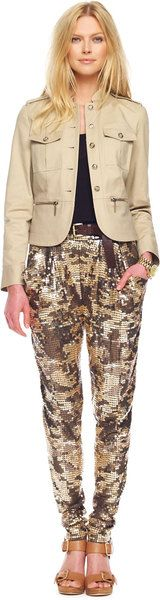 Sequined Camo Deep Pocket Pants