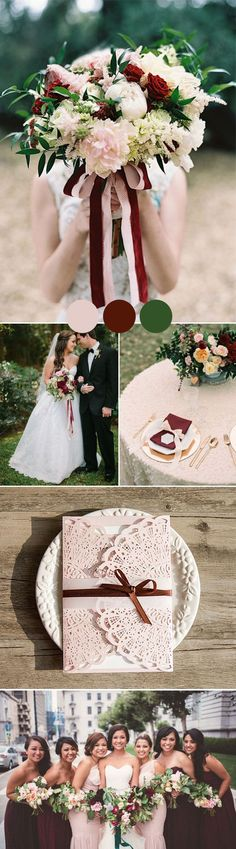 blush pink,burgundy and green fall and autumn wedding color ideas