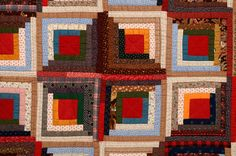 Calico Barn Raising Log Cabin Quilt   From a unique collection of antique and modern quilts at https://www.1stdibs.com/furniture/folk-art/quilts/